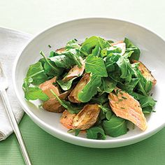 Arugula with Roasted Salmon and New Potatoes - delicious!