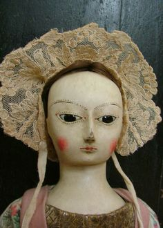 Ca. 1730 English Wooden Queen Anne Doll Reproduction