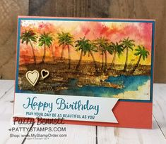Palm Tree Beach Scene card created with Brusho Crystal Colour and the Stampin' Up! Waterfront stamp set, by Patty Bennett