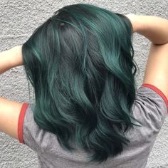 Wanted to try this new slide thang! So I picked a few of my favorites from recen… - Hair Style Dye My Hair, 50 Hair, Coloured Hair, Blue Hair, Black And Green Hair, Emerald Green Hair, Lilac Hair, Gray Green, Pastel Hair