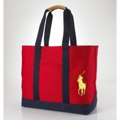 Ralph Lauren Polo Chic Canvas Handbag Red is on promation, don't loss the chance.