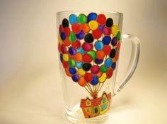 UP Balloon House Balloon House Mug Coffee Tea Cup Hand Painted
