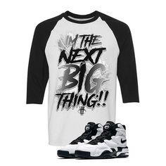 Nike Air Max 2 Uptempo 94 'White & Black' Baseball T (BIG THING) Nike Air Max 2, Big Thing, Baseball T, Matching Shirts, Street Wear, Mens Tops, T Shirt, Clothes, Black