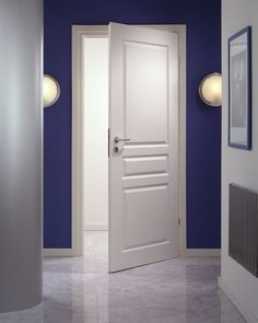 Modern White Wood Panel Masonite Interior Entry Doors Design Collections with Contemporary White Wood Frames also Three Style Rectangle Shaped Door Slab also Modern Metal Chrome Doorknob Mdf Doors, Wooden Doors, Entry Doors, Ladder Ideas, 3 Panel Door, Masonite Interior Doors, White Wood Paneling, Cheap Doors, Door Design Interior