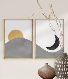 Modern Wall Art, Mid-century Modern, Diy Canvas Art, Canvas Ideas, Art Original, Moon Print, Mid Century Modern Art, Black Decor, Minimalist Art