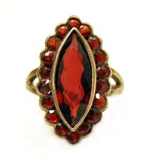Antique Victorian Garnet Ring Rose Cut Marquise by Laeclectica, $395.00