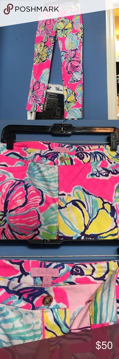 Lilly Pulitzer Pants NEVER WORN Lilly Pulitzer pants. Sit right above the angle not tight at the bottom but not completely straight leg. Thicker material. Super vibrant and fit true to size. No stains no marks Lilly Pulitzer Pants Ankle & Cropped