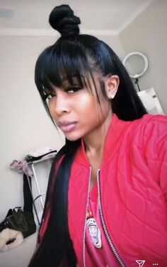 Black Hairstyles With Bangs Elegant Hairstyles, Party Hairstyles, Black Women Hairstyles, Hairstyles With Bangs, Weave Hairstyles, Straight Hairstyles, Bangs Hairstyle, Wedding Hairstyles, Black Hairstyles With Weave