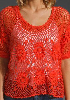 Crochet Top in Coral