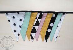Stoffen vlaggenlijn Handmade Black/yellow/mint | Something Old Something New