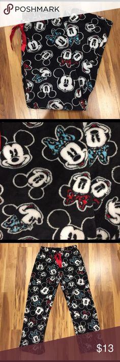 Fleece Mickey and Minnie pajama pants Fleece Mickey and Minnie pajama pants with red strings. Super soft and comfortable. Barley worn! Can fit small or xs Disney Pants