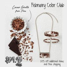 Valentines Day Gift Idea For Her: When a jewelry company with a love for upcycling and supporting artisans and small businesses falls in love with an artisan chocolate shop, unwanted cacoa shells turn into a beautiful interlayer that pays homage to the unbreakable bond between February, Valentines Day, and chocolate. 0 calories!  Better than candy!  Only from now until the end of Februarty 2017 #valentinesday #valentinesgift #ecofriendlyjewelry #chocolate #necklace #jewelry