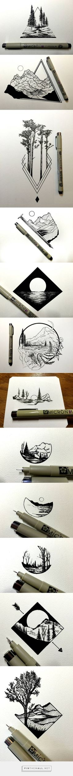 Tatto Ideas 2017 Daily Drawings by Derek Myers Fubiz Media a grouped images picture Illustration, Daily Drawing, Pen Art, Cool Drawings, Simple Drawings, Simple Nature Drawing, Pencil Drawings, Dragon Drawings, Charcoal Drawings