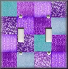 purple switchplates | Light Switch Plate Cover - Purple Blue Boho Gypsy Patchwork - Home ...