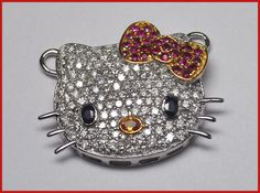 """""""Kittiness"""" Price: $2,000    Hello Kitty 3.75ct ROUND DIAMOND GEMSTONE 14k GOLD BROOCH ♥    Signature Victorian Collection....known for its international taste and appeal!    Imported, world-class quality, not pre-owned, not pawned, not stolen. WE DELIVER WORLDWIDE ♥"""