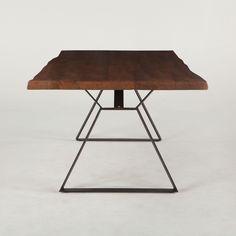 London Loft 80″ Solid Wood Live Edge Dining Table in Walnut w/ Steel Legs – Simply Austin Furniture