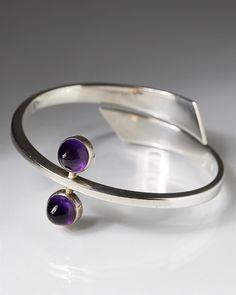 Bracelet, designed by Hans Hansen, Denmark. 1950's. Sterling silver and amethysts.
