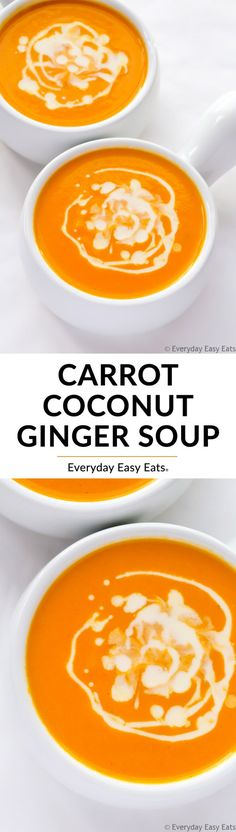 This Carrot Coconut Ginger Soup recipe will warm you right up! A velvety, flavorful soup that is gluten-free, dairy-free, paleo and vegan. paleo dinner bowls