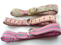 Lot of 3 WOMENS PREPPY LILLY PULITZER PINK & GREEN BELTS All Size M Excel. Cond. #LILLYPULITZER