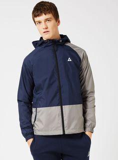 LE COQ SPORTIF Blue and Grey Lightweight Windbreaker Jacket* - Men's Coats & Jackets - Clothing - TOPMAN Windbreaker Jacket Mens, Mens Raincoat, Men's Coats, Asos, Grey, Clothing, Jackets, Blue, Shopping