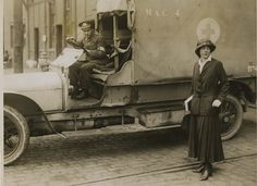 Photograph of Vera Mary St Clair-Erskine, Countess of Rosslyn, with Red Cross motor ambulance, at Boulogne, France. Red Cross, War Machine, World War I, Us Army, Wwi, Art Google, Warfare, First World, Military Vehicles
