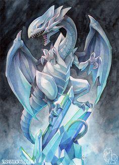 A4 Impresión 'Blanco de ojos azules Dragon' por SushiStudios