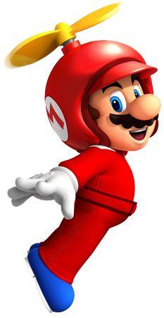 Propeller Mario is a power-up in New Super Mario Bros. Mario gets this form after using a Propeller Mushroom. Super Mario Party, Super Mario Kostüm, Mario Und Luigi, Mario Bros., Mario Kart, Wii Characters, Pokemon, Party Fiesta, Super Mario Brothers