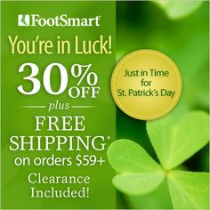 You're in Luck - SAVE 30% Sitewide this weekend! Stock up on sandals, shoes, socks and more! Use required code at checkout: PNSTPATS *Brand Exclusions Apply #shoes #sandals #heelpain #compression #plantarfasciitis #insoles #athleticsocks #runningshoes