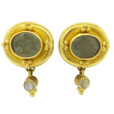 Elizabeth Locke Intaglio Venetian Glass Moonstone Gold Earrings | From a unique collection of vintage more earrings at https://www.1stdibs.com/jewelry/earrings/more-earrings/