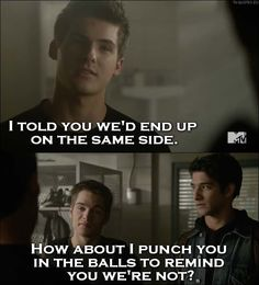 Teen Wolf Quote from 5x19 - How about I punch you in the balls to remind you we're not.