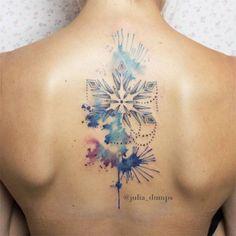 Watercolor tattoo snowflake winter ink