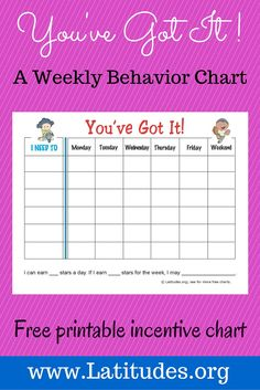 This popular printable weekly behavior chart style is designed for focusing on several activities or behaviors during the course of one week. A variety of goals can be entered for each day, and you can decide how many you want to include. The weekend days are combined into one day to give the child a chance to easily fill that section.