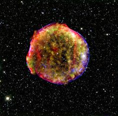 "This is the remnant of ""Tycho's Supernova"", a huge ball of expanding plasma. The outer shell shown in blue is X-ray emission by high-speed electrons."