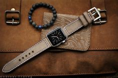 Handmade Vintage Grey Leather Strap white stitching incl. Lugs Adapter for Apple Watch (or Apple Watch Sport/Space Gray) 42mm or 38mm
