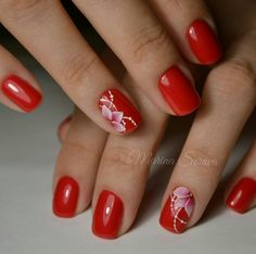19 Trendy French Manicure With Flower Beautiful Spring Nails, Summer Nails, Nagellack Trends, Red Nail Designs, Nails Only, Flower Nail Art, Flower Design Nails, Hot Nails, Nail Manicure