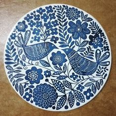 Finished platter from my painting video a little o. Pottery Painting Designs, Pottery Designs, Paint Designs, Madhubani Art, Madhubani Painting, Blue Pottery, Ceramic Pottery, Ceramic Painting, Ceramic Art