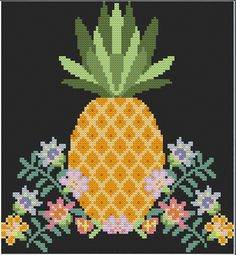 Pineapple Cross Stitch attern - instant digital pdf download - tropical modern…