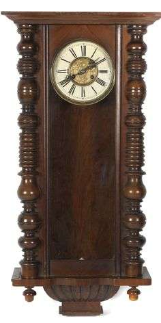 A spring-driven Vienna wall clock, the 7-inch Roman dial with -  Art Nouveau