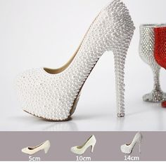 Ariana 2 - Angel White Classy Wedding Glamour Prom Party Stiletto Platform Bridal High Heels Sizes EU34-39, USA4.5-7 $120 via @Shopseen