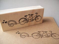 Tandem Bicycle Rubber Stamp with Baby Trailer , Tandem Bike , Birth Announcements , Baby Showers , Family