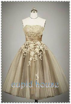 MY DREAM DRESS OMG <3 Short Champagne Lace Reception Dress Simple Sleeveless White Ivory Tea-length Lace Wedding Dress Wedding Party Dress 2014