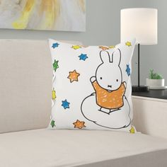 East Urban Home An adorable design featuring the classic Miffy illustration surrounded by stars. Cotton cushion with fibre filling. Cushion Pads, Cushion Covers, Scatter Cushions, Throw Pillows, Miffy, Hazelwood Home, Home Additions, Baby Room, Snoopy