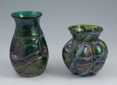 351A: 2 ART GLASS VASES Loetz Formosa type : Lot 351A