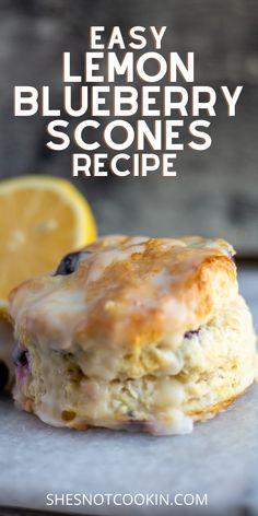Blueberry Scones Recipe, Blueberry Recipes, Lemon Recipes, Baking Recipes, Dessert Recipes, Brunch Recipes, Desserts, Breakfast Bake, Sweet Breakfast