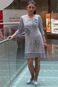 Buy Entrancing Chic Crochet Dress,  Light-blue Linen Dress, Handmade Linen Dress by talitahandmade. Explore more products on http://talitahandmade.etsy.com