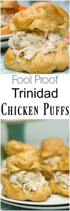 A foolproof recipe for making the popular Trinidad puff shells (choux pastry) and a filling of a well-seasoned chicken breast. Perfect for parties and get togethers (Jamaican Chicken Curry) Trinidadian Recipes, Guyanese Recipes, Chicken Puffs, Breaded Chicken, Roti, Puerto Rico, Trini Food, Trinidad Y Tobago, Caribbean Recipes