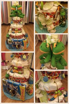 Twins nappy (diaper) cake! Filled with toys, sweets and chocolate for the new mumma, new dummies , bottles and socks and of course twin teddy frogs!