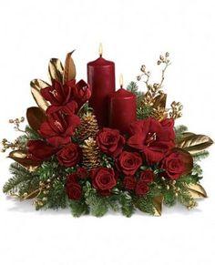 arreglos florales para navidad de rosas rojas naturales