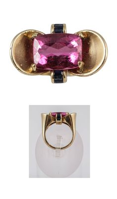Pink Tourmaline with Sapphire accents set in 18K Gold. Circa 1940a.