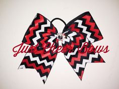 Chevron Bow with Bling Center  www.justcheerbows.com  Sales@justcheerbows.com